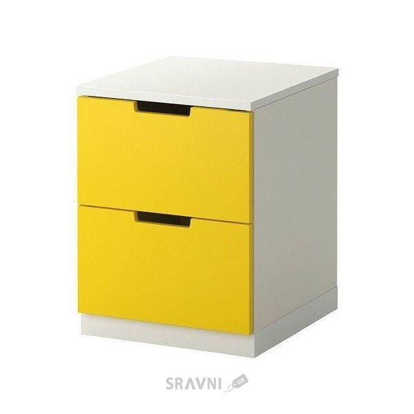Фото IKEA NORDLI Комод с 2 ящиками, желтый, белый (190.272.31)