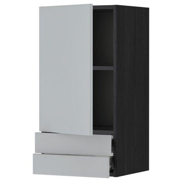 Фото IKEA METOD/FORVARA Навесной шкаф с дверкой/2 ящика, черный 40x80 (199.180.05)