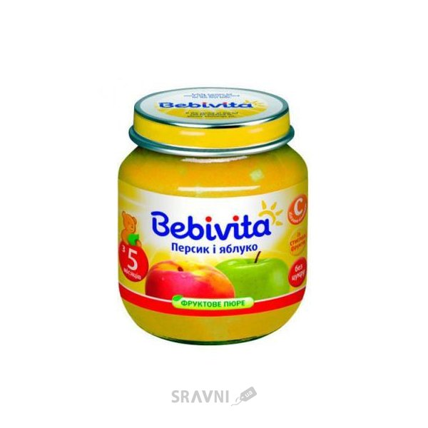 Фото Bebivita Пюре Яблоко и персик, 100 г