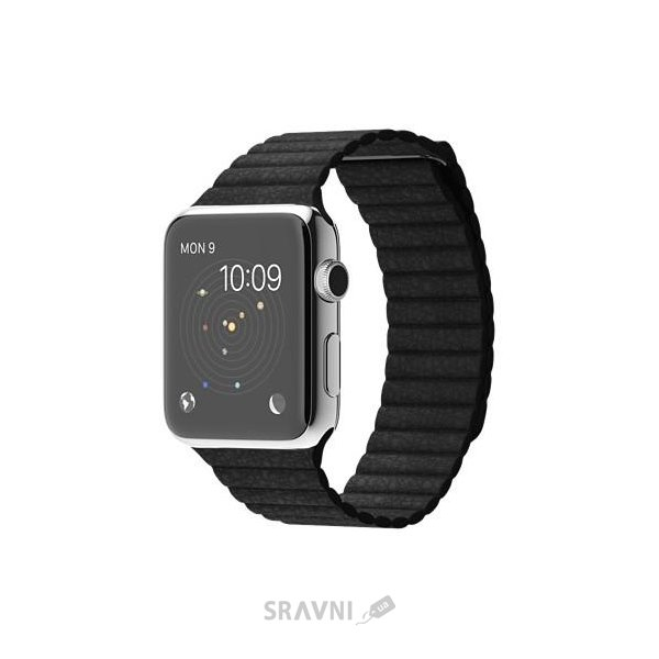 Фото Apple Watch 42mm Stainless Steel Case with Black Leather Loop (MJYP2)